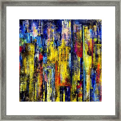 Framed Print featuring the painting City Nightime Metropolis by Katie Black