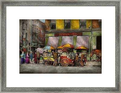 City - Ny- Lunch Carts On Broadway St Ny - 1906 Framed Print
