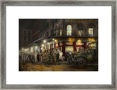 City - Ny - Washington Street Market Buying At Night - 1952 Framed Print by Mike Savad