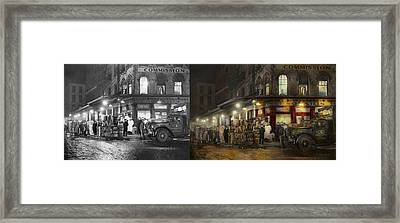 City - Ny - Washington Street Market Buying At Night - 1952 - Side By Side Framed Print by Mike Savad