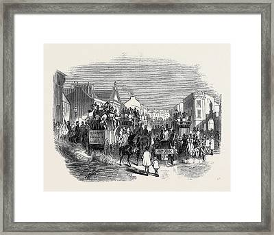 City Of Cork, Scene On The Day Of The Oconnell Dinner Framed Print by English School