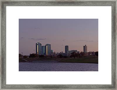 City Of Fort Worth After Sunset Framed Print by Jonathan Davison