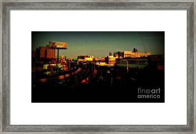City Of Gold - New York City Sunset With Water Towers Framed Print by Miriam Danar
