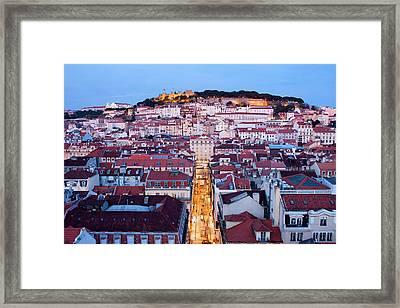 City Of Lisbon At Dusk In Portugal Framed Print by Artur Bogacki