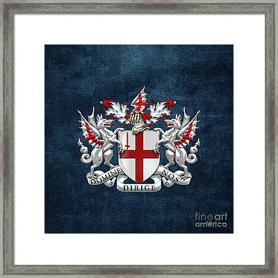 City Of London - Coat Of Arms Over Blue Leather  Framed Print