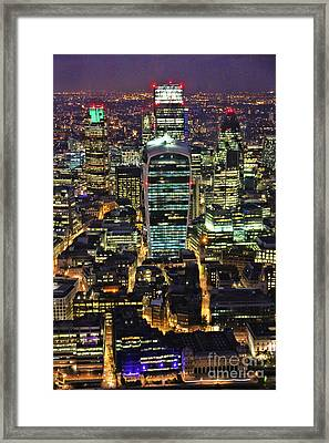 City Of London Skyline At Night Framed Print