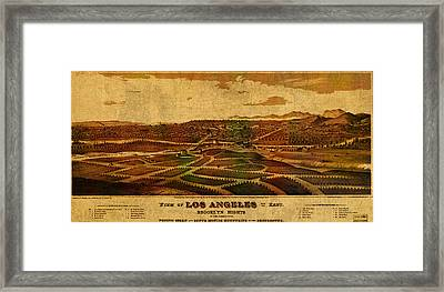 City Of Los Angeles California Vintage Birds Eye View City Street Map 1877 Framed Print by Design Turnpike