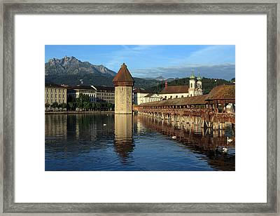 City Of Lucerne In Switzerland Framed Print by Ron Sumners