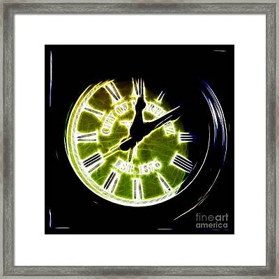 City Of Martinez California Town Clock - 5d20862 - Electric Framed Print by Wingsdomain Art and Photography