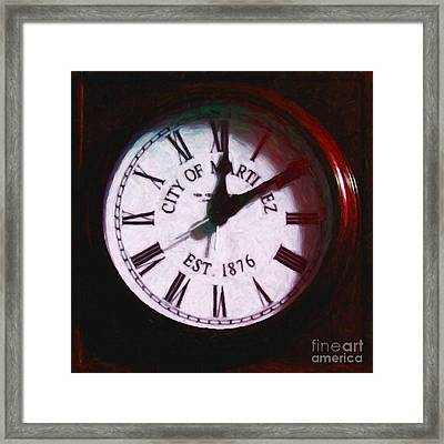 City Of Martinez California Town Clock - 5d20862 - Painterly Framed Print by Wingsdomain Art and Photography