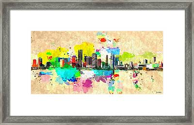 City Of Miami Grunge Framed Print by Daniel Janda