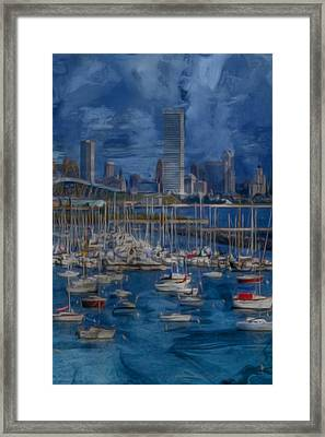 City Of Milwaukee Along Lake Michigan Framed Print