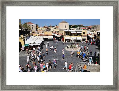 Ippokratous Square At The City Of Rhodes Framed Print by George Atsametakis