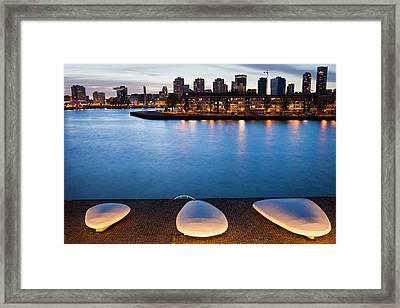 City Of Rotterdam Skyline At Twilight In Netherlands Framed Print