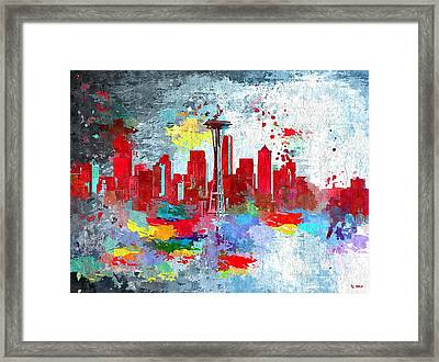 City Of Seattle Grunge Framed Print by Daniel Janda