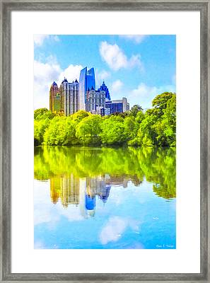 Framed Print featuring the photograph City Of Tomorrow - Atlanta Midtown Skyline by Mark E Tisdale