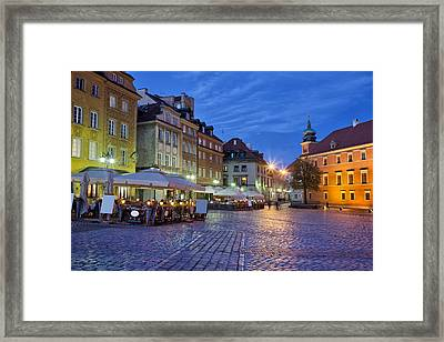 City Of Warsaw In The Evening Framed Print