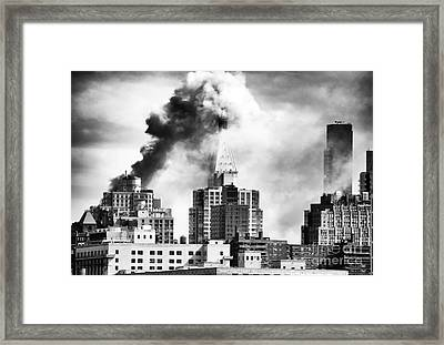 City On Fire Framed Print by John Rizzuto