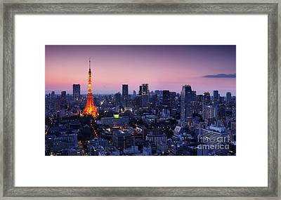 City Panorama With Tokyo Tower Illuminated In Twilight Framed Print