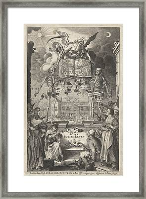 City People And Peasants Watching Two Skeletons And Angel Framed Print by Cornelis Van Dalen Ii And Jan Jacobsz Schipper