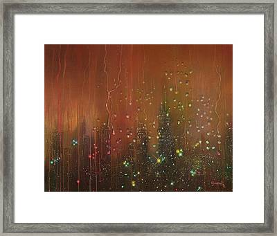 City Rain Against The Window Framed Print