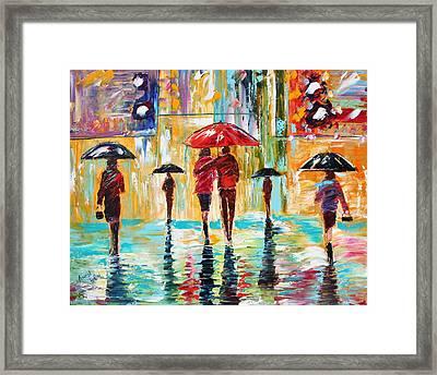 City Rain Framed Print by Karen Tarlton