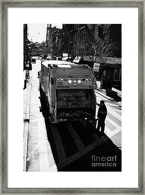City Refuse Worker Checks The Back Of A Garbage Truck On A Cross Walk Bleeker St Greenwich Village Framed Print