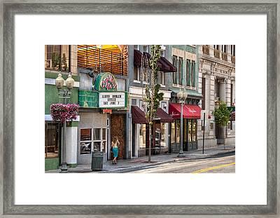 City - Roanoke Va - Down One Fine Street  Framed Print by Mike Savad