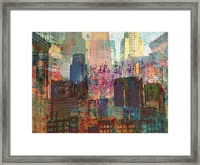 City Skyline Abstract Scene Framed Print by John Fish