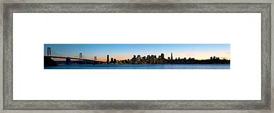 City Skyline And A Bridge At Dusk, Bay Framed Print by Panoramic Images