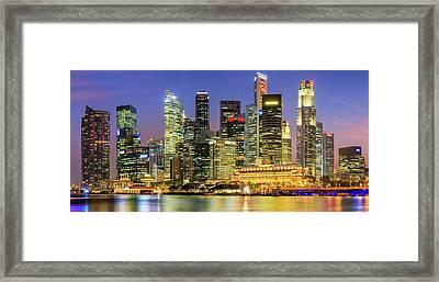 City Skyline - Singapore At Dusk 35mpix Framed Print by Hadynyah