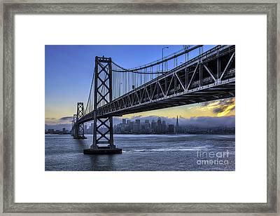City Skyline Under The Bay Bridge Framed Print