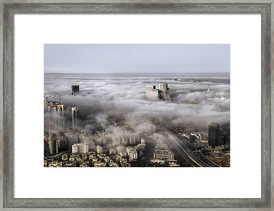 Framed Print featuring the photograph City Skyscrapers Above The Clouds by Ron Shoshani