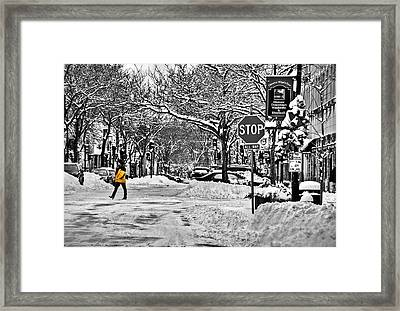 City Snowstorm Framed Print