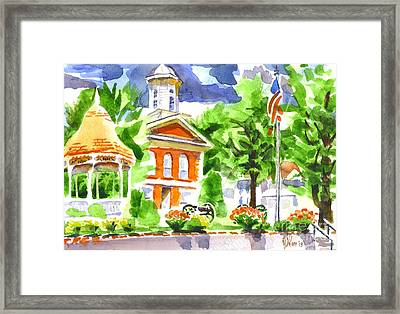 City Square In Watercolor Framed Print by Kip DeVore
