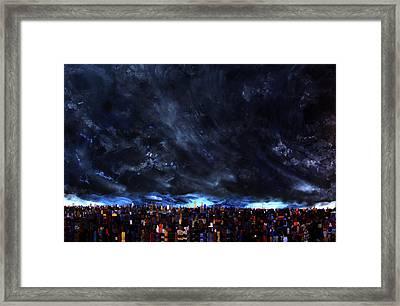 City Storm II Framed Print