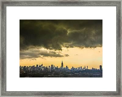 City Storm Wide Framed Print