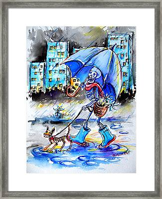 Framed Print featuring the painting City Stroll by Heather Calderon