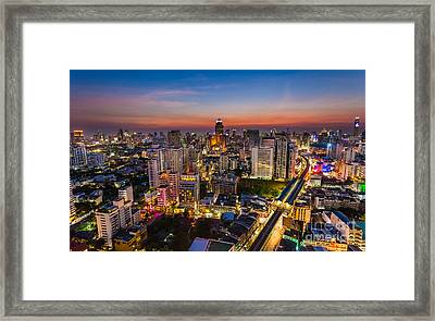City Sunset Skyline Bangkok Framed Print by Fototrav Print