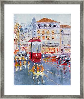 City Tram Or Street Car Framed Print by Elena Nayman