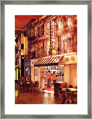 City - Vegas - Ny - Broadway Burger Framed Print by Mike Savad