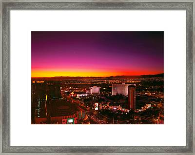City - Vegas - Ny - Sunrise Over The City Framed Print by Mike Savad