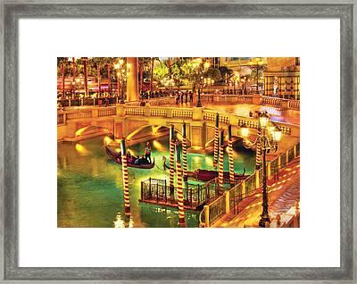 City - Vegas - Venetian - The Venetian At Night Framed Print by Mike Savad