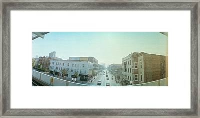 City Viewed From A Railroad Platform Framed Print by Panoramic Images