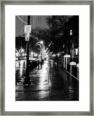 City Walk In The Rain Framed Print