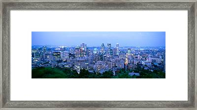 Cityscape At Dusk, Montreal, Quebec Framed Print by Panoramic Images