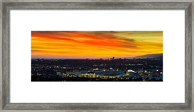 Cityscape At Dusk, Sony Studios, Culver Framed Print by Panoramic Images