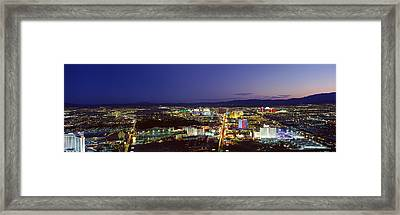 Cityscape At Night, The Strip, Las Framed Print by Panoramic Images