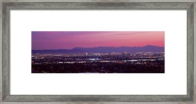 Cityscape At Sunset, Phoenix, Maricopa Framed Print