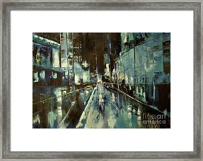 Framed Print featuring the painting Cityscape by Maja Sokolowska